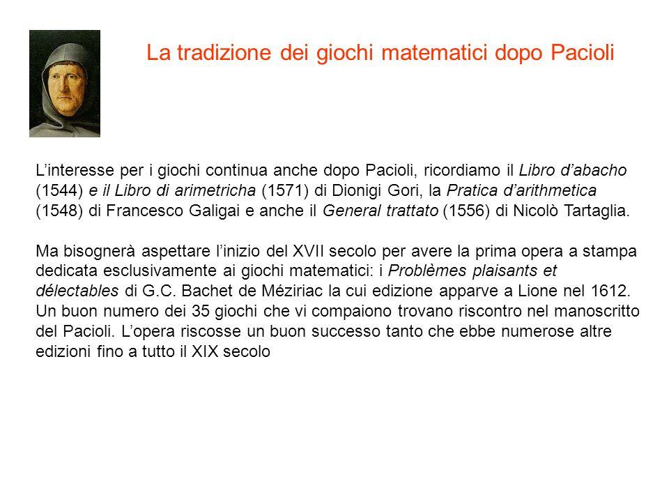 Linteresse per i giochi continua anche dopo Pacioli, ricordiamo il Libro dabacho (1544) e il Libro di arimetricha (1571) di Dionigi Gori, la Pratica d