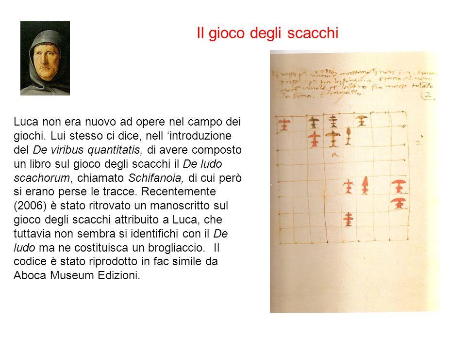 Luca non era nuovo ad opere nel campo dei giochi. Lui stesso ci dice, nell introduzione del De viribus quantitatis, di avere composto un libro sul gio