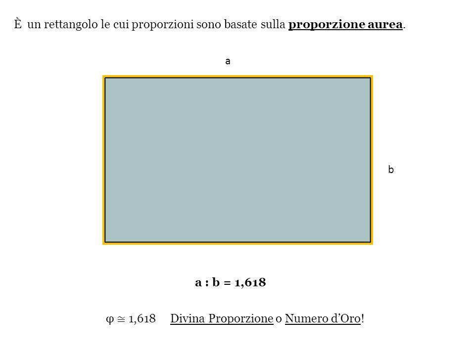 φ 1,618 Divina Proporzione o Numero dOro! È un rettangolo le cui proporzioni sono basate sulla proporzione aurea. a a : b = 1,618 a b