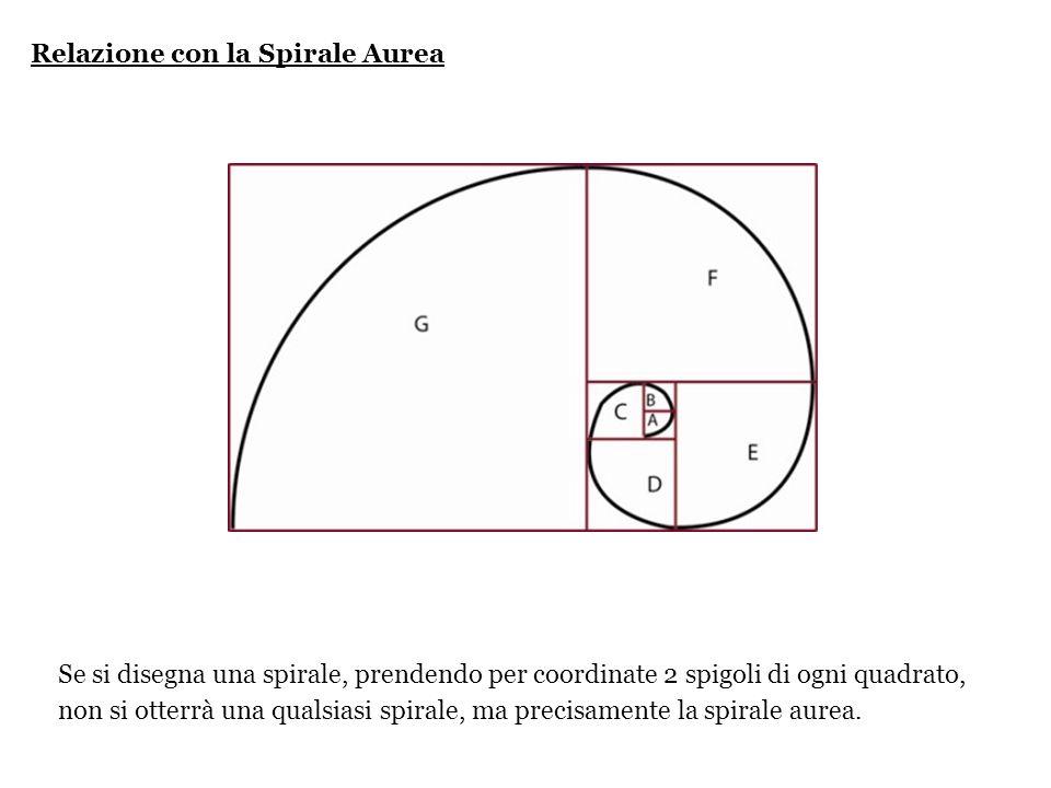 Relazione con la Spirale Aurea Se si disegna una spirale, prendendo per coordinate 2 spigoli di ogni quadrato, non si otterrà una qualsiasi spirale, m
