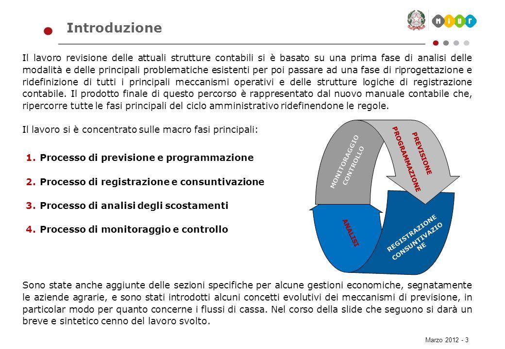 Marzo 2012 - 14 Struttura del documento Il processo Introduzione Il workflow dei processi Il dettaglio dei processi Architettura generale I processi di pianificazione/consuntivazione Il processo di previsione dei flussi di cassa Un esempio del nuovo piano dei conti