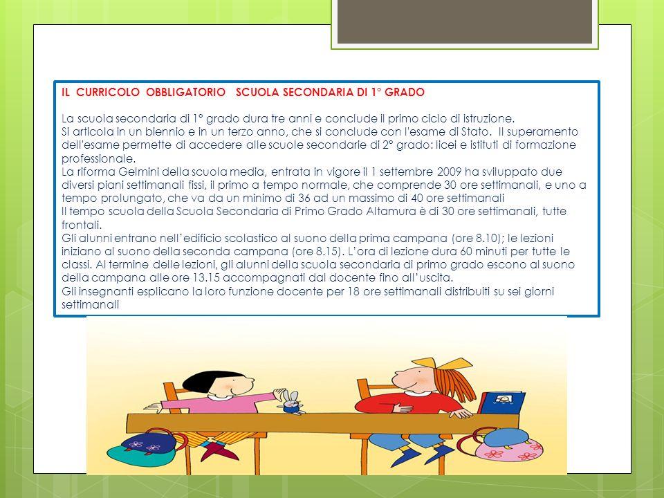 IL CURRICOLO OBBLIGATORIO SCUOLA SECONDARIA DI 1° GRADO La scuola secondaria di 1° grado dura tre anni e conclude il primo ciclo di istruzione.