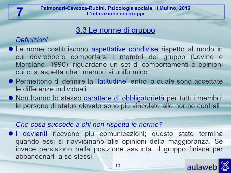 Palmonari-Cavazza-Rubini, Psicologia sociale, Il Mulino, 2012 Linterazione nei gruppi 3.3 Le norme di gruppo Definizioni Le nome costituiscono aspetta