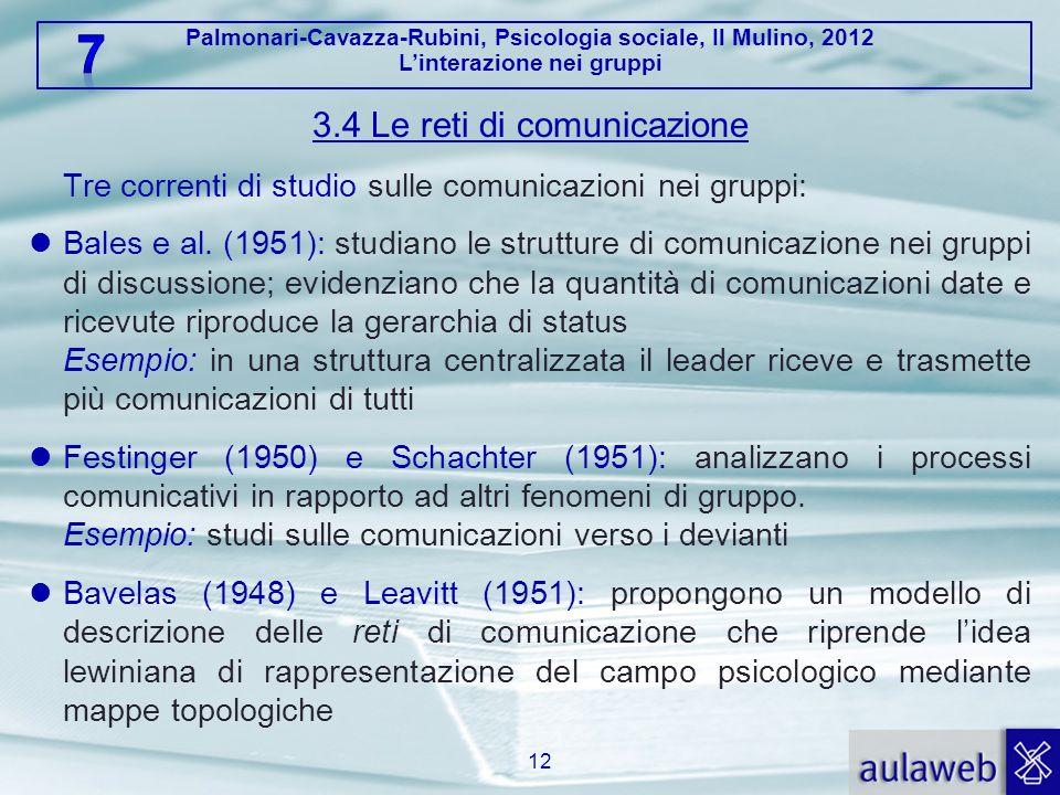 Palmonari-Cavazza-Rubini, Psicologia sociale, Il Mulino, 2012 Linterazione nei gruppi 3.4 Le reti di comunicazione Tre correnti di studio sulle comuni