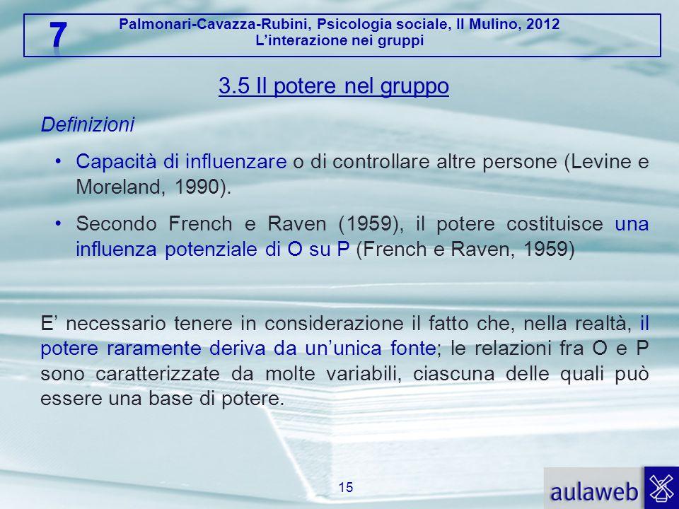Palmonari-Cavazza-Rubini, Psicologia sociale, Il Mulino, 2012 Linterazione nei gruppi 3.5 Il potere nel gruppo Definizioni Capacità di influenzare o d