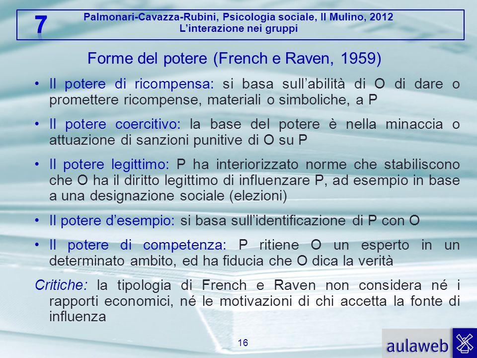 Palmonari-Cavazza-Rubini, Psicologia sociale, Il Mulino, 2012 Linterazione nei gruppi Forme del potere (French e Raven, 1959) Il potere di ricompensa: