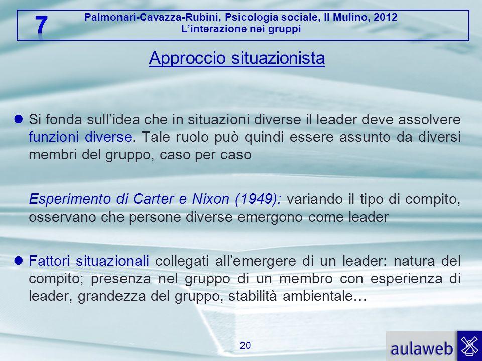 Palmonari-Cavazza-Rubini, Psicologia sociale, Il Mulino, 2012 Linterazione nei gruppi Approccio situazionista Si fonda sullidea che in situazioni dive