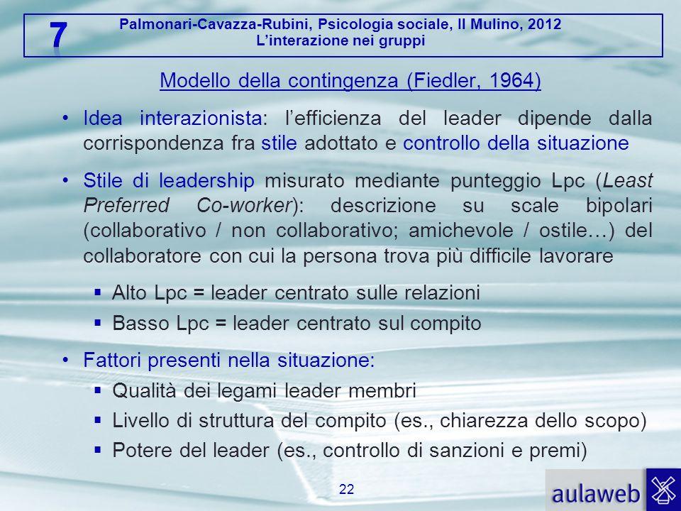 Palmonari-Cavazza-Rubini, Psicologia sociale, Il Mulino, 2012 Linterazione nei gruppi Modello della contingenza (Fiedler, 1964) Idea interazionista: l