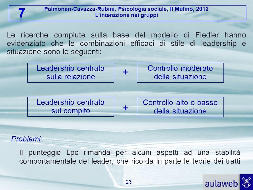 Palmonari-Cavazza-Rubini, Psicologia sociale, Il Mulino, 2012 Linterazione nei gruppi Problemi: Il punteggio Lpc rimanda per alcuni aspetti ad una sta