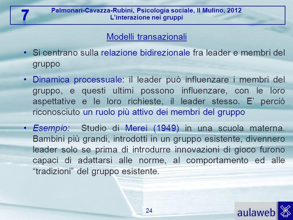 Palmonari-Cavazza-Rubini, Psicologia sociale, Il Mulino, 2012 Linterazione nei gruppi Modelli transazionali Si centrano sulla relazione bidirezionale
