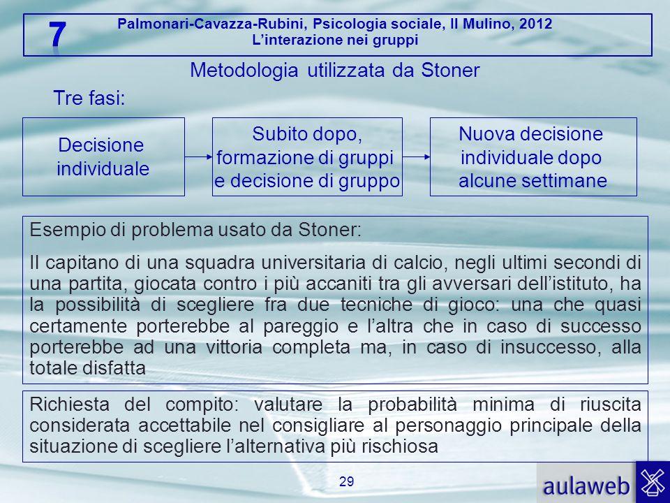 Palmonari-Cavazza-Rubini, Psicologia sociale, Il Mulino, 2012 Linterazione nei gruppi 29 Metodologia utilizzata da Stoner Esempio di problema usato da