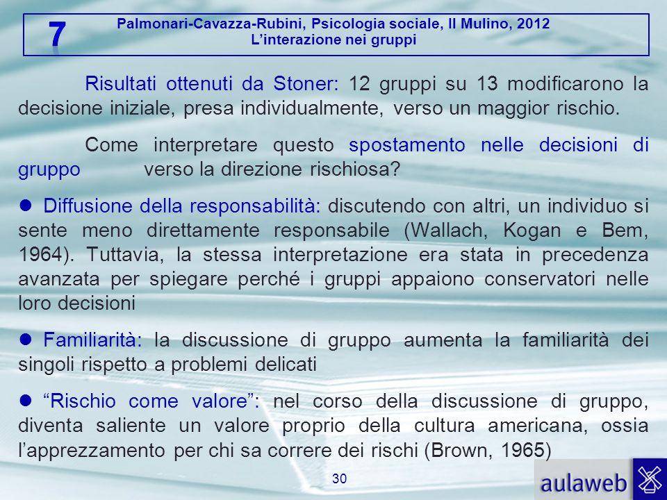 Palmonari-Cavazza-Rubini, Psicologia sociale, Il Mulino, 2012 Linterazione nei gruppi Risultati ottenuti da Stoner: 12 gruppi su 13 modificarono la de