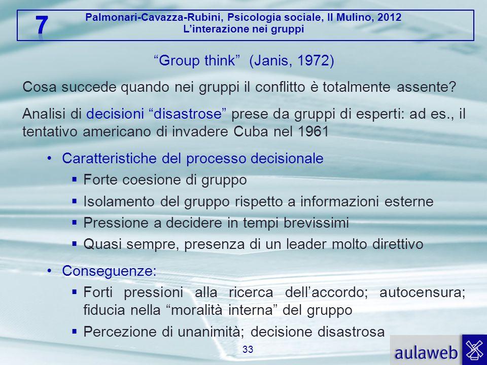 Palmonari-Cavazza-Rubini, Psicologia sociale, Il Mulino, 2012 Linterazione nei gruppi Group think (Janis, 1972) Cosa succede quando nei gruppi il conf