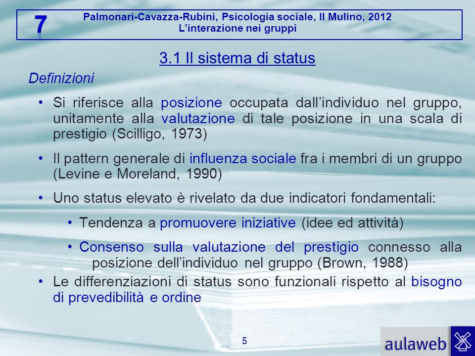 Palmonari-Cavazza-Rubini, Psicologia sociale, Il Mulino, 2012 Linterazione nei gruppi 3.1 Il sistema di status Definizioni Si riferisce alla posizione