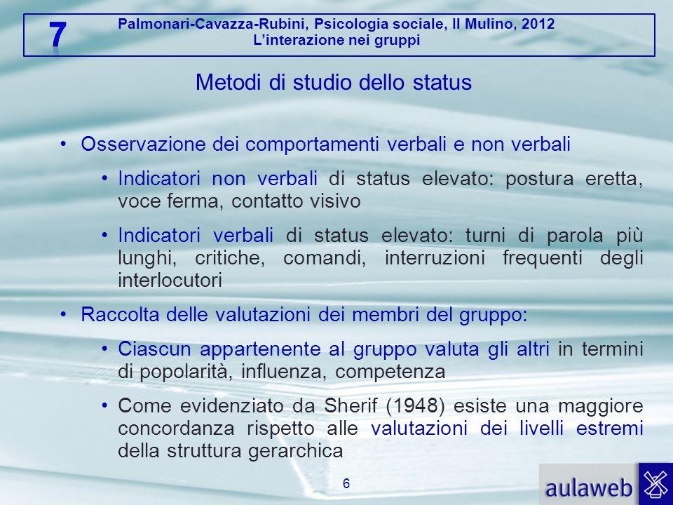 Palmonari-Cavazza-Rubini, Psicologia sociale, Il Mulino, 2012 Linterazione nei gruppi Metodi di studio dello status Osservazione dei comportamenti ver