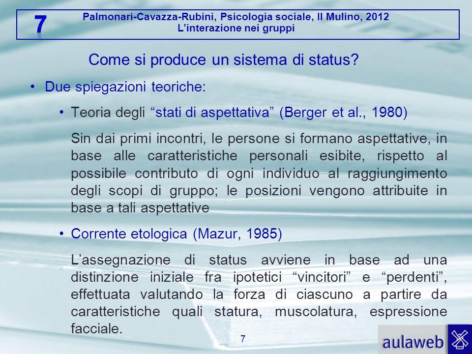 Palmonari-Cavazza-Rubini, Psicologia sociale, Il Mulino, 2012 Linterazione nei gruppi Come si produce un sistema di status? Due spiegazioni teoriche: