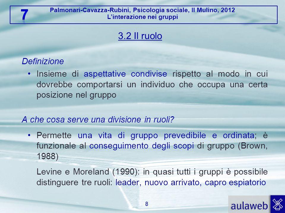 Palmonari-Cavazza-Rubini, Psicologia sociale, Il Mulino, 2012 Linterazione nei gruppi 3.2 Il ruolo Definizione Insieme di aspettative condivise rispet
