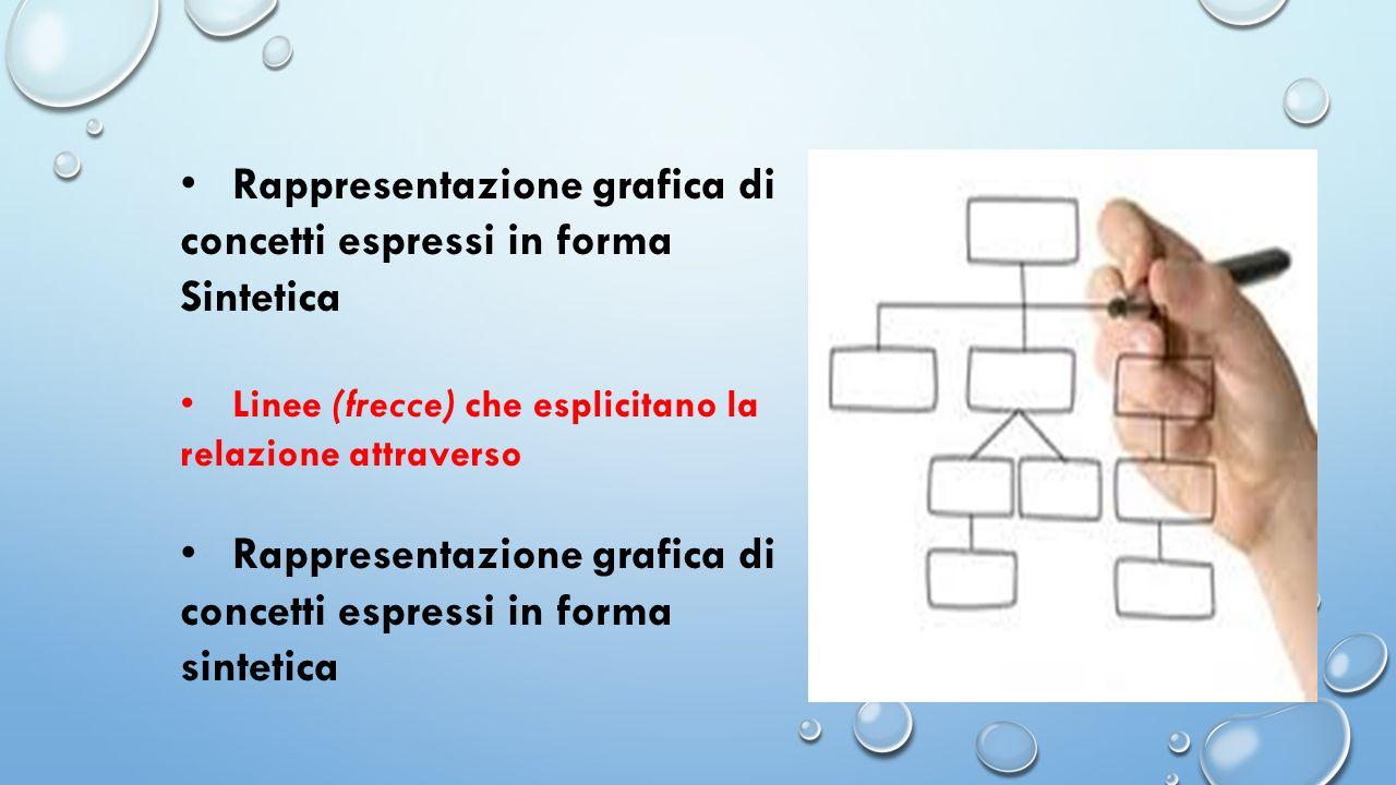 Rappresentazione grafica di concetti espressi in forma Sintetica Linee (frecce) che esplicitano la relazione attraverso Rappresentazione grafica di co