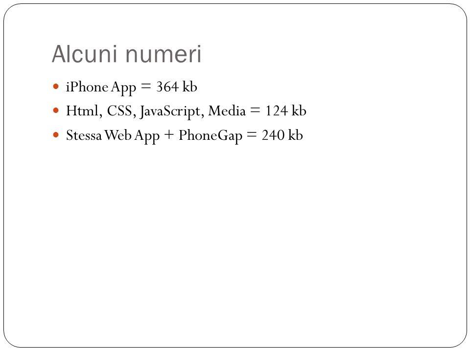 Alcuni numeri iPhone App = 364 kb Html, CSS, JavaScript, Media = 124 kb Stessa Web App + PhoneGap = 240 kb