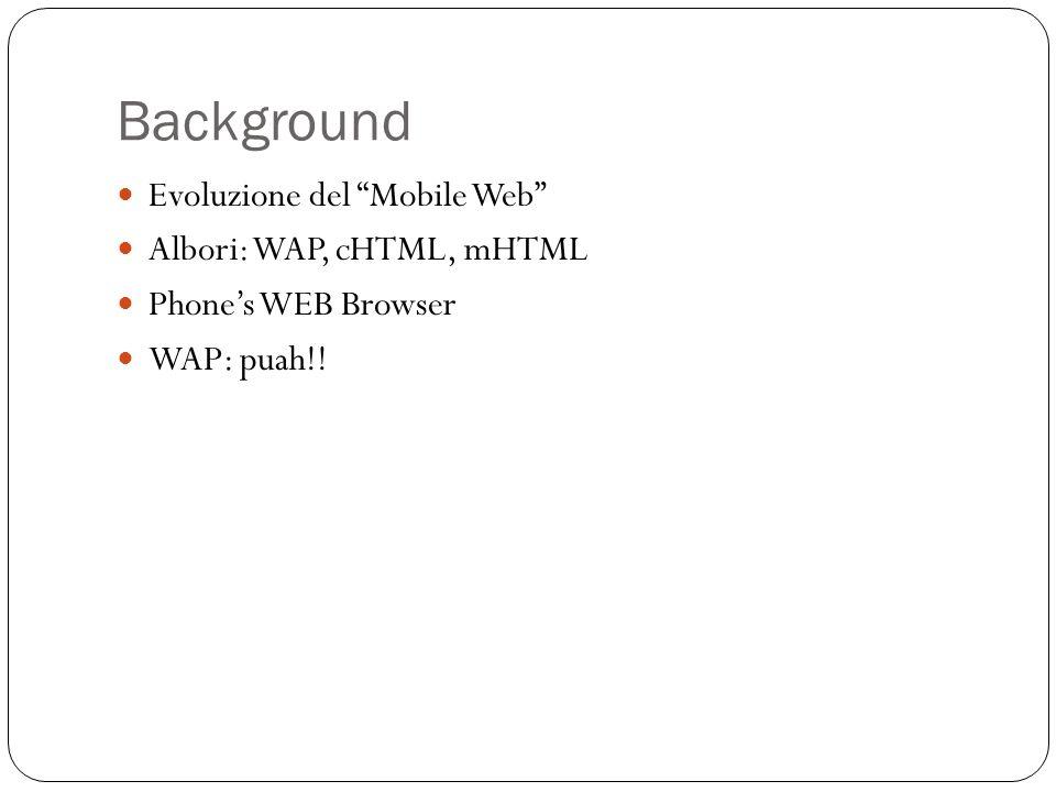 Background Evoluzione del Mobile Web Albori: WAP, cHTML, mHTML Phones WEB Browser WAP: puah!!