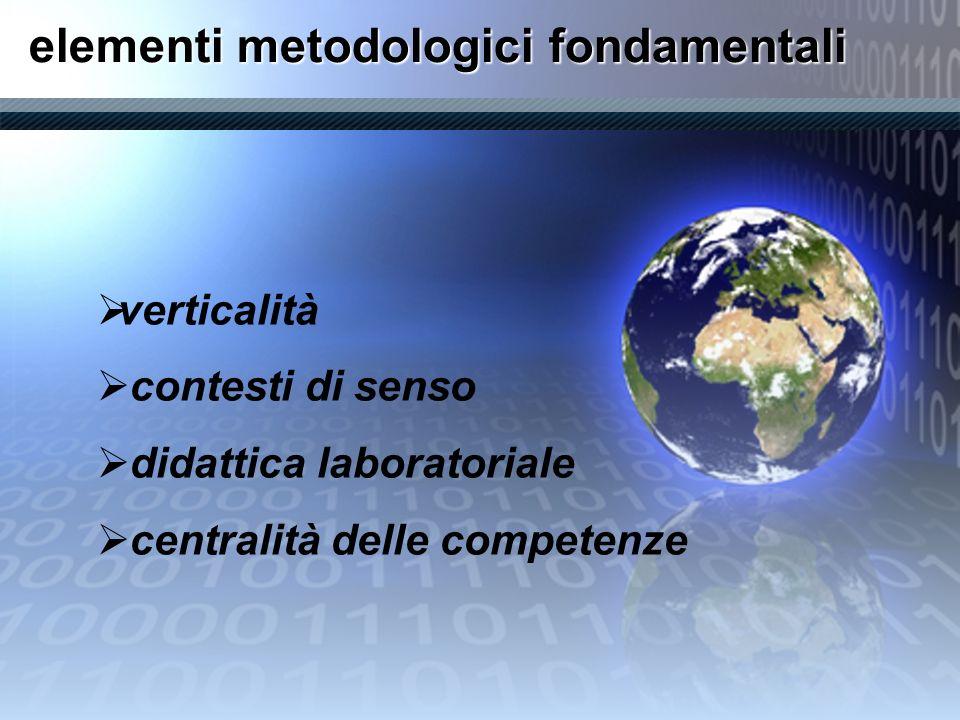 elementi metodologici fondamentali verticalità contesti di senso didattica laboratoriale centralità delle competenze