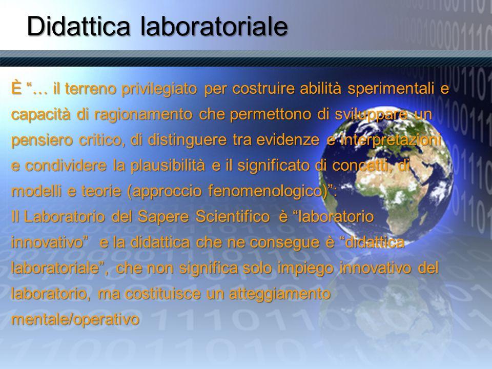 Didattica laboratoriale È … il terreno privilegiato per costruire abilità sperimentali e capacità di ragionamento che permettono di sviluppare un pens