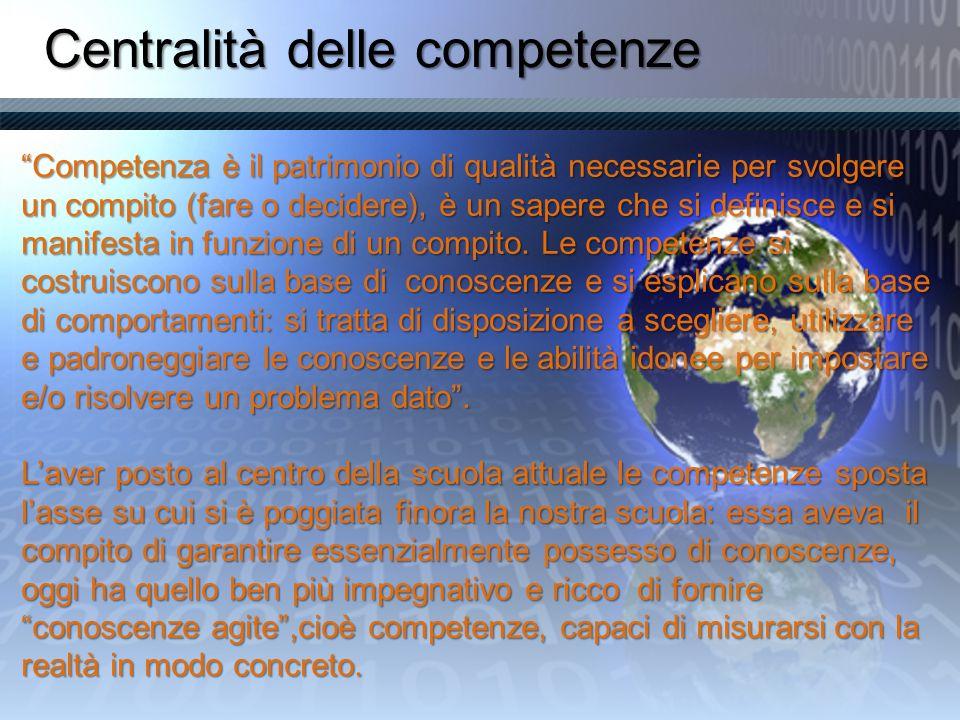 Centralità delle competenze Competenza è il patrimonio di qualità necessarie per svolgere un compito (fare o decidere), è un sapere che si definisce e