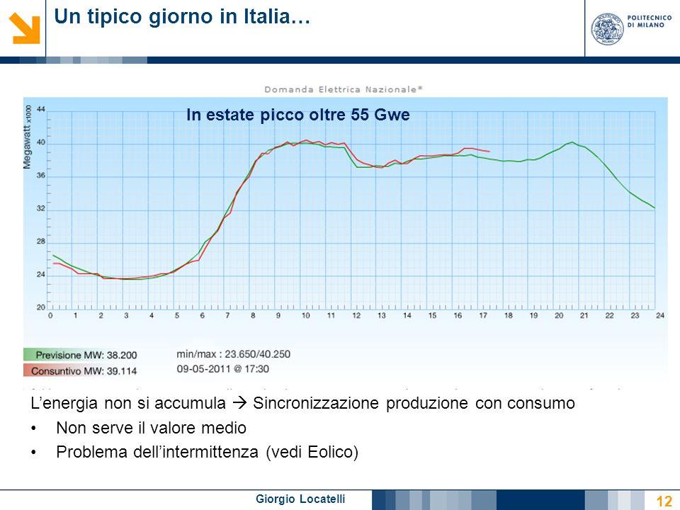 Giorgio Locatelli Un tipico giorno in Italia… 12 Lenergia non si accumula Sincronizzazione produzione con consumo Non serve il valore medio Problema d