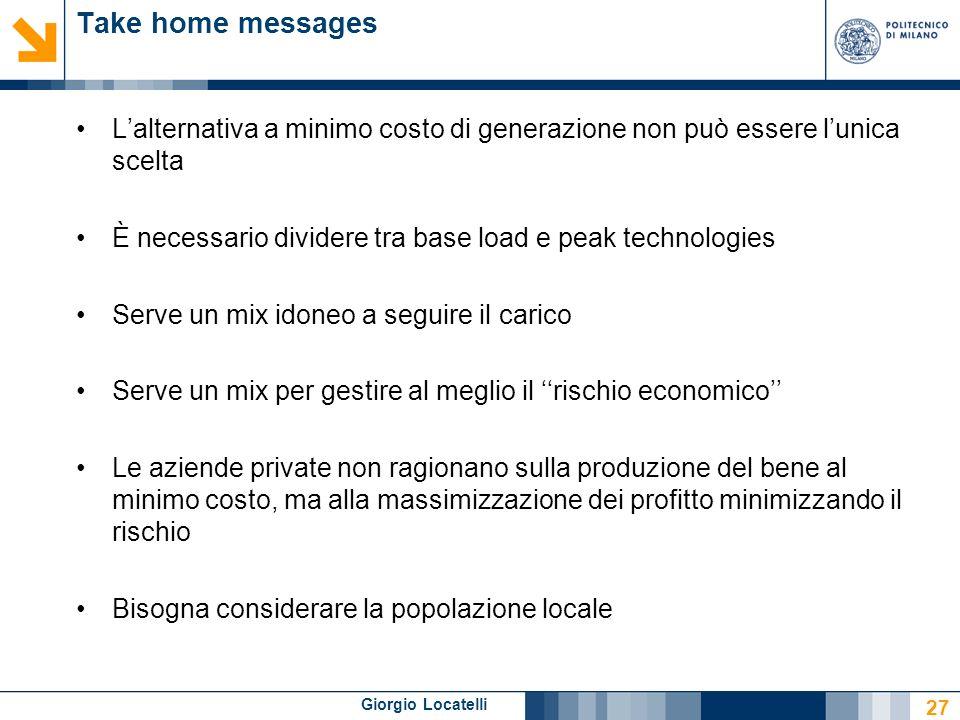 Giorgio Locatelli Take home messages Lalternativa a minimo costo di generazione non può essere lunica scelta È necessario dividere tra base load e pea