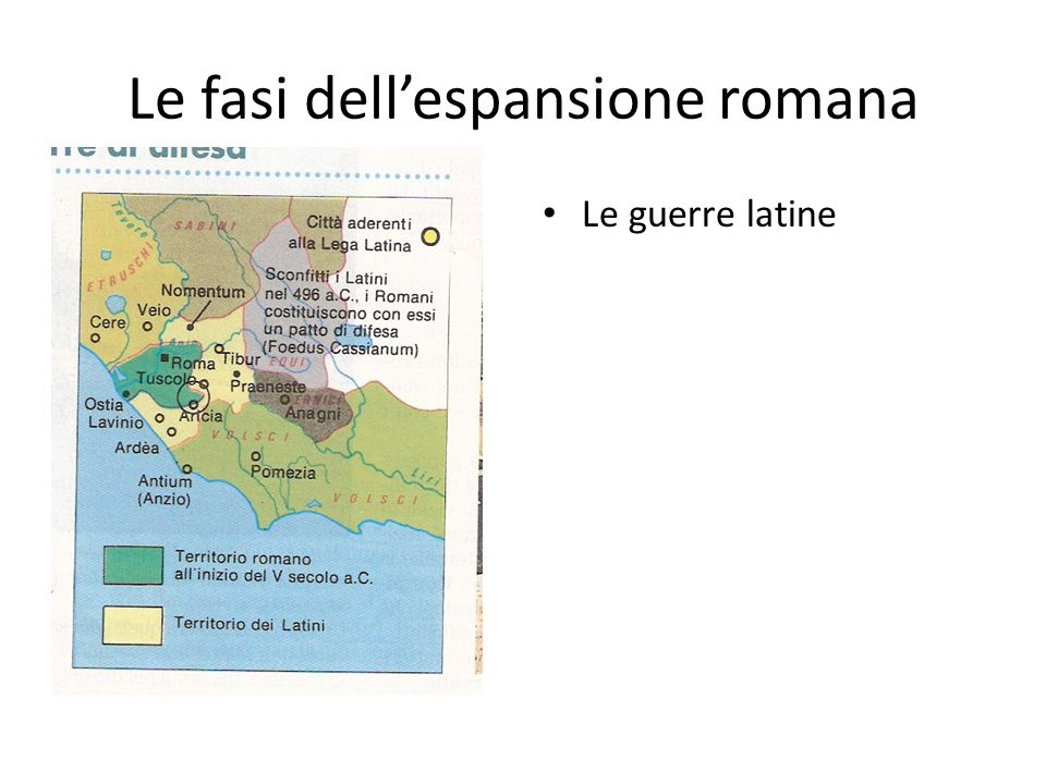 Le fasi dellespansione romana Le guerre latine