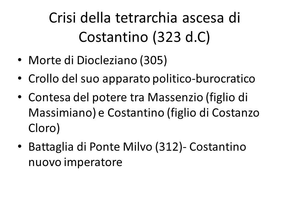 Crisi della tetrarchia ascesa di Costantino (323 d.C) Morte di Diocleziano (305) Crollo del suo apparato politico-burocratico Contesa del potere tra M