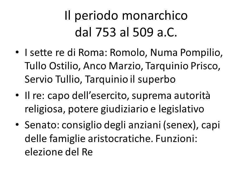 Il periodo monarchico dal 753 al 509 a.C. I sette re di Roma: Romolo, Numa Pompilio, Tullo Ostilio, Anco Marzio, Tarquinio Prisco, Servio Tullio, Tarq