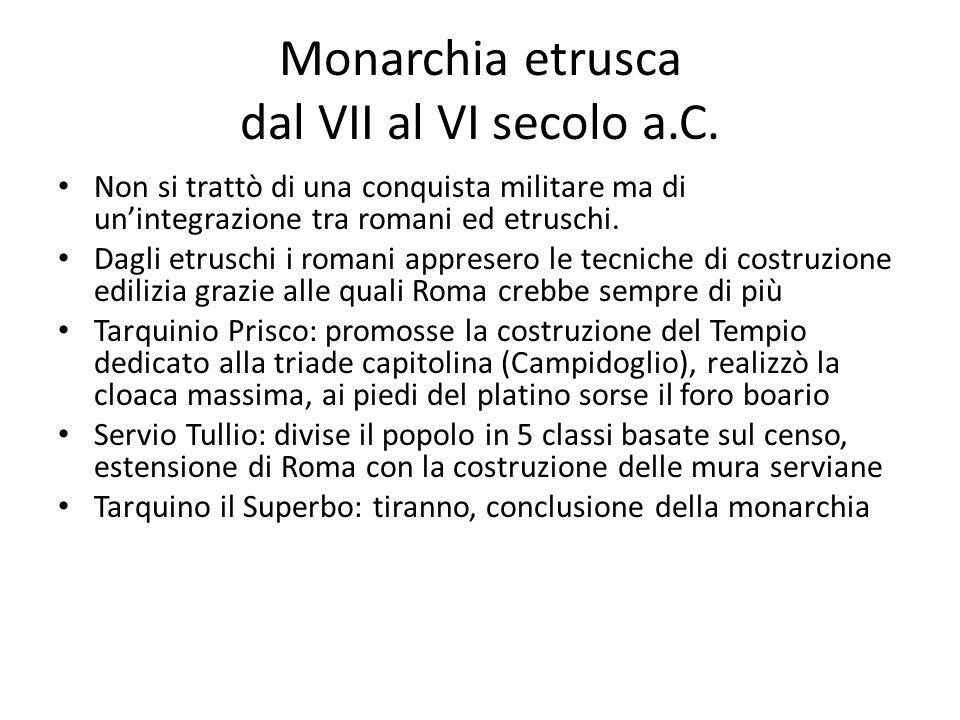 Monarchia etrusca dal VII al VI secolo a.C. Non si trattò di una conquista militare ma di unintegrazione tra romani ed etruschi. Dagli etruschi i roma