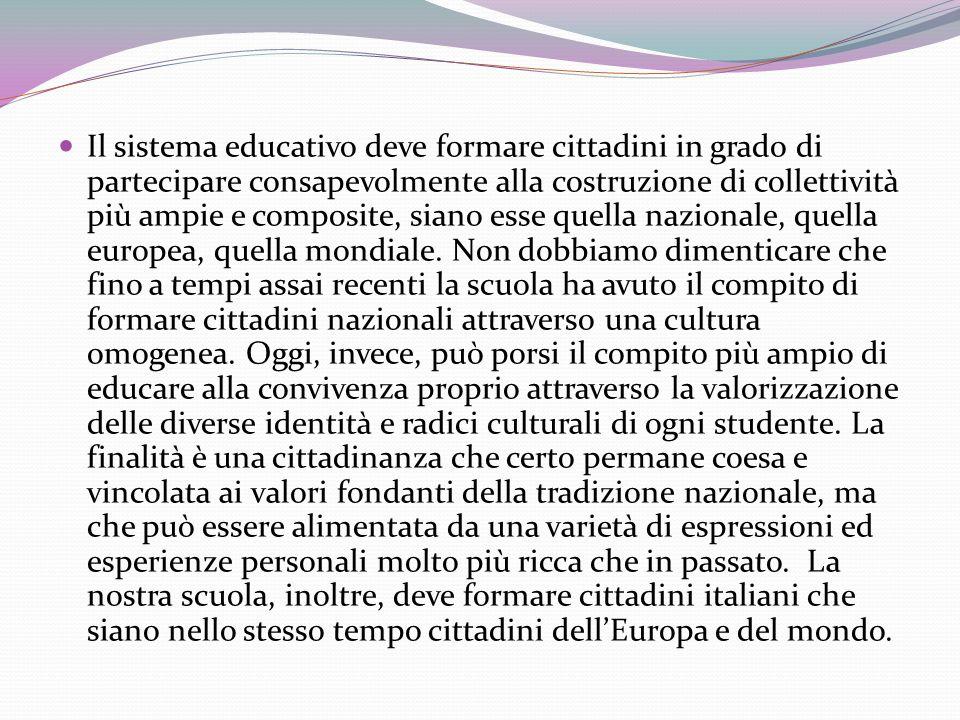 Il sistema educativo deve formare cittadini in grado di partecipare consapevolmente alla costruzione di collettività più ampie e composite, siano esse quella nazionale, quella europea, quella mondiale.