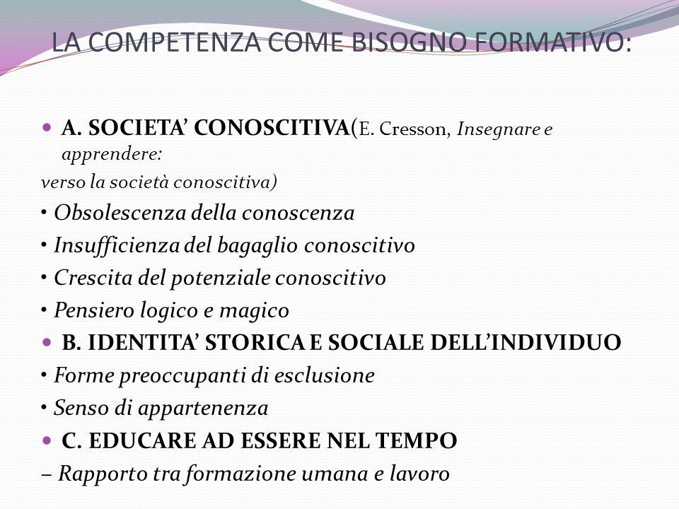 LA COMPETENZA COME BISOGNO FORMATIVO: A.SOCIETA CONOSCITIVA( E.