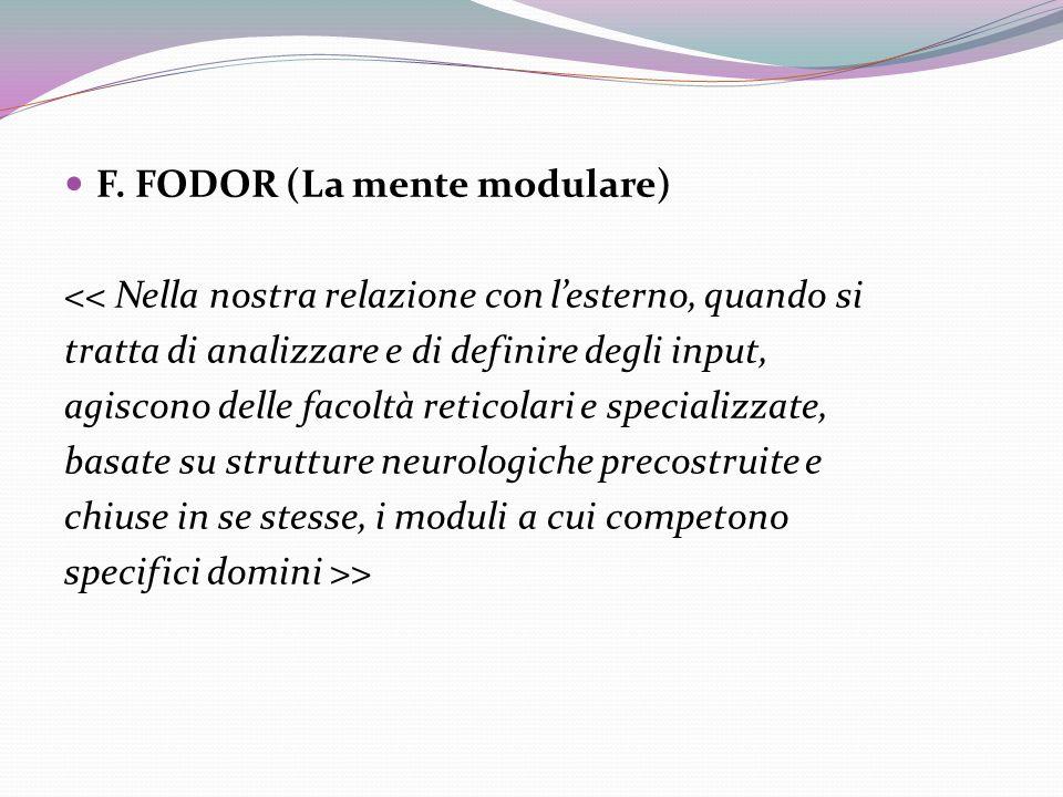 F. FODOR (La mente modulare) << Nella nostra relazione con lesterno, quando si tratta di analizzare e di definire degli input, agiscono delle facoltà