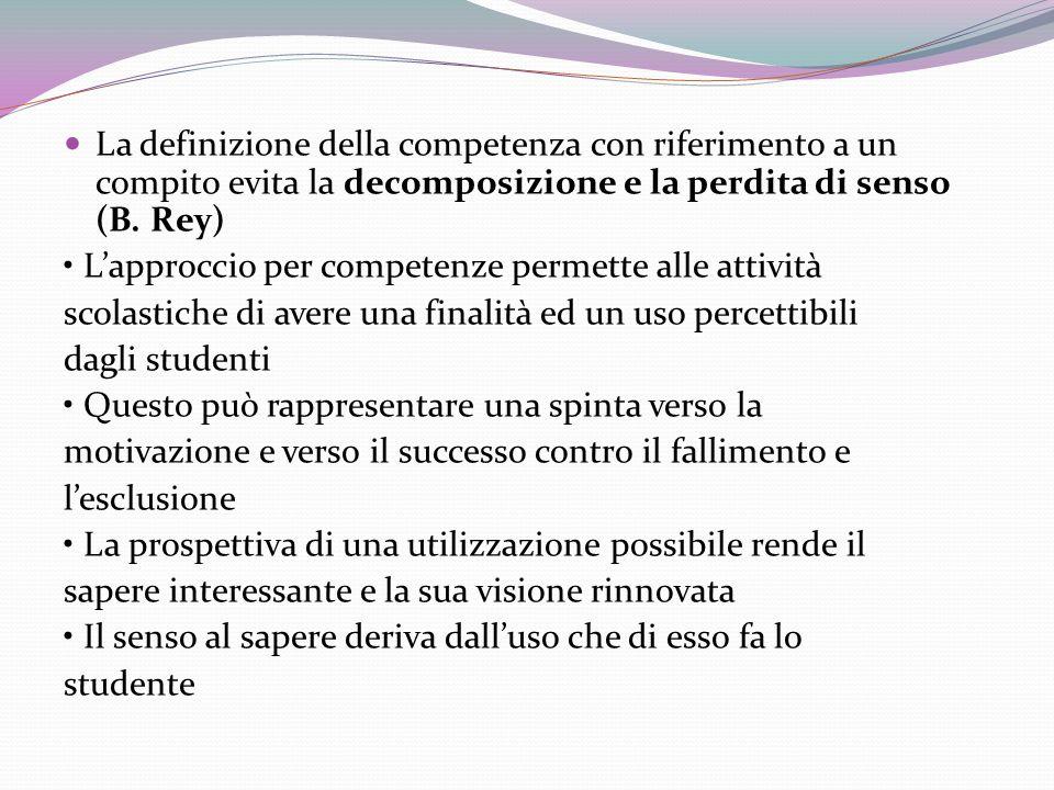 La definizione della competenza con riferimento a un compito evita la decomposizione e la perdita di senso (B.