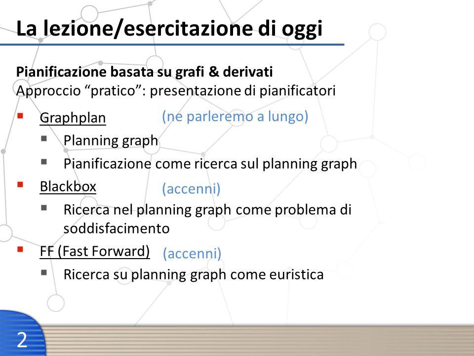 La lezione/esercitazione di oggi 2 Graphplan Planning graph Pianificazione come ricerca sul planning graph Blackbox Ricerca nel planning graph come pr