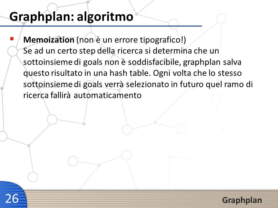 26 Graphplan Graphplan: algoritmo Memoization (non è un errore tipografico!) Se ad un certo step della ricerca si determina che un sottoinsieme di goa
