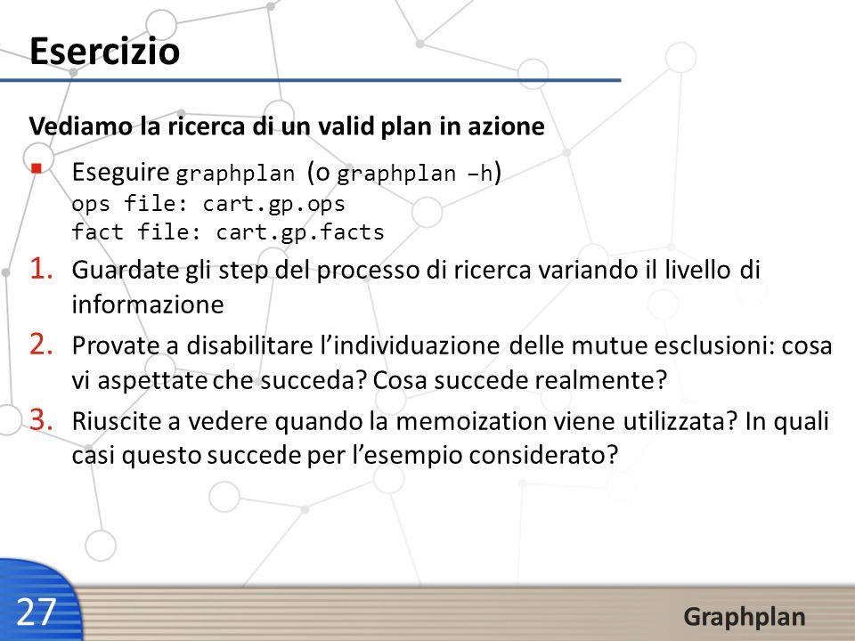 27 Graphplan Esercizio Vediamo la ricerca di un valid plan in azione Eseguire graphplan (o graphplan –h ) ops file: cart.gp.ops fact file: cart.gp.fac