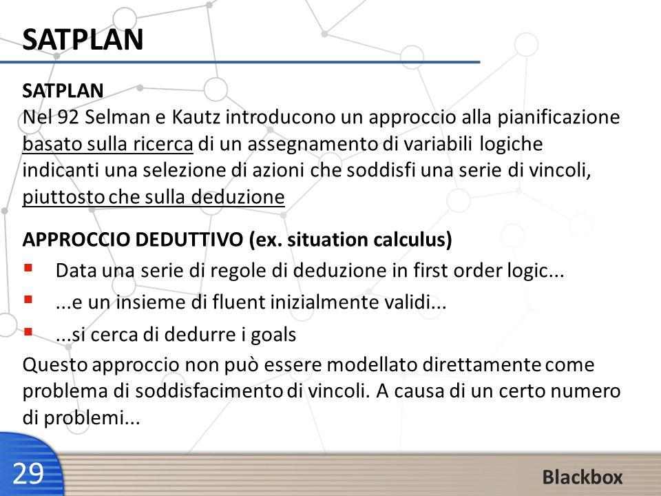 29 Blackbox SATPLAN Data una serie di regole di deduzione in first order logic......e un insieme di fluent inizialmente validi......si cerca di dedurr