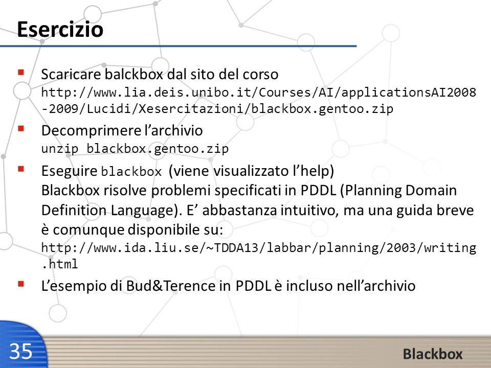 35 Esercizio Scaricare balckbox dal sito del corso http://www.lia.deis.unibo.it/Courses/AI/applicationsAI2008 -2009/Lucidi/Xesercitazioni/blackbox.gen