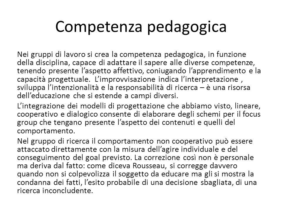 Competenza pedagogica Nei gruppi di lavoro si crea la competenza pedagogica, in funzione della disciplina, capace di adattare il sapere alle diverse competenze, tenendo presente laspetto affettivo, coniugando lapprendimento e la capacità progettuale.