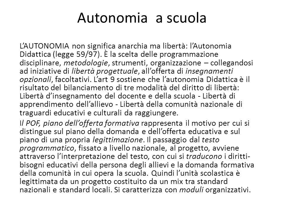 LAUTONOMIA non significa anarchia ma libertà: lAutonomia Didattica (legge 59/97).