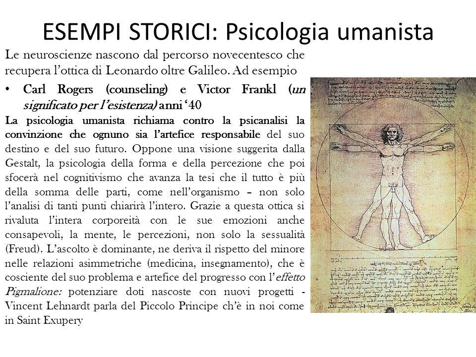 ESEMPI STORICI: Psicologia umanista Le neuroscienze nascono dal percorso novecentesco che recupera lottica di Leonardo oltre Galileo.