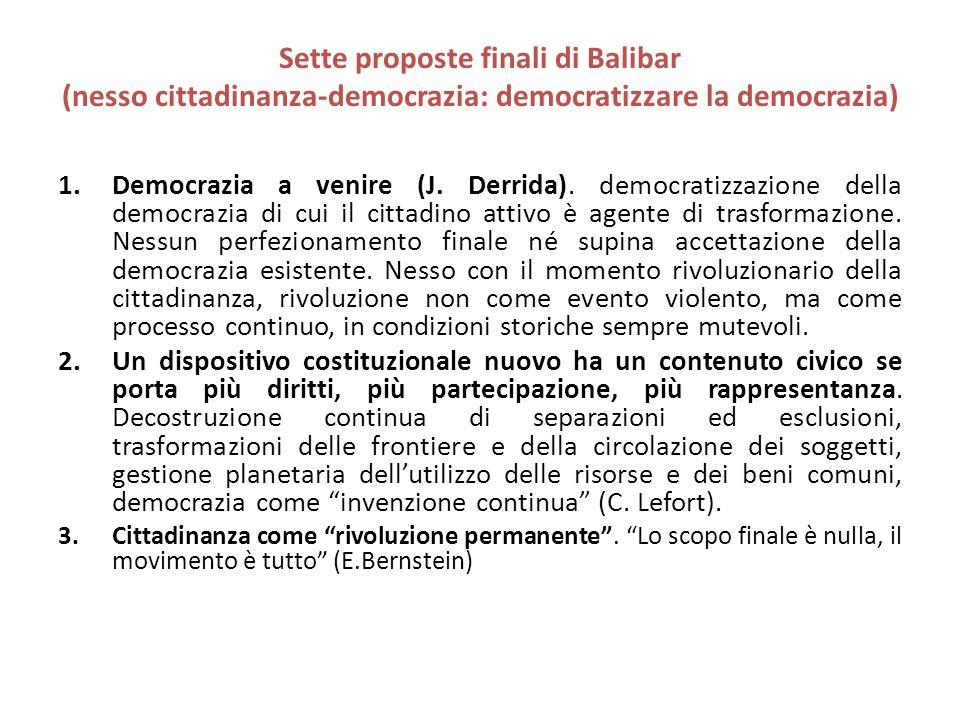 Sette proposte finali di Balibar (nesso cittadinanza-democrazia: democratizzare la democrazia) 1.Democrazia a venire (J. Derrida). democratizzazione d
