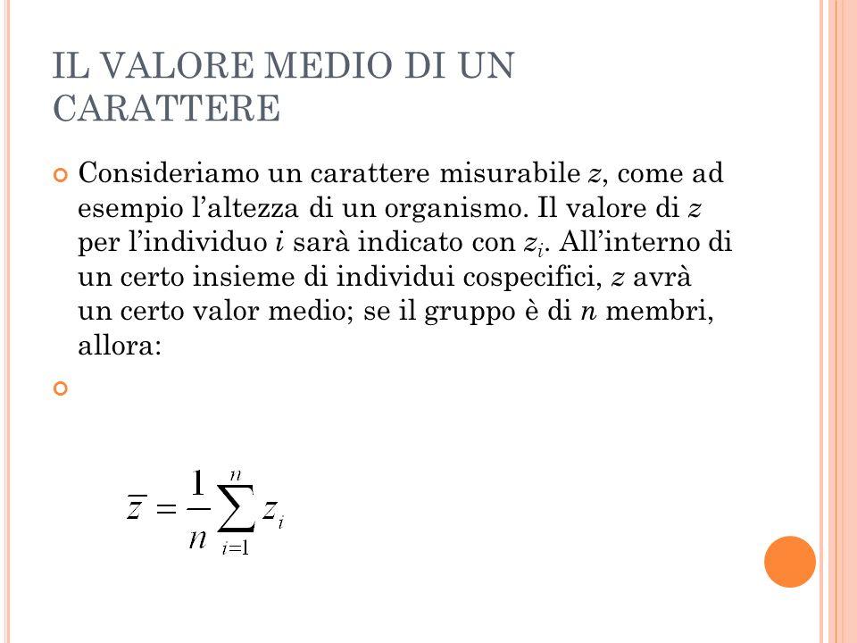 IL VALORE MEDIO DI UN CARATTERE Consideriamo un carattere misurabile z, come ad esempio laltezza di un organismo.