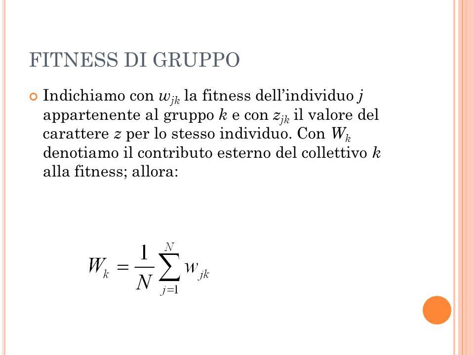 FITNESS DI GRUPPO Indichiamo con w jk la fitness dellindividuo j appartenente al gruppo k e con z jk il valore del carattere z per lo stesso individuo.