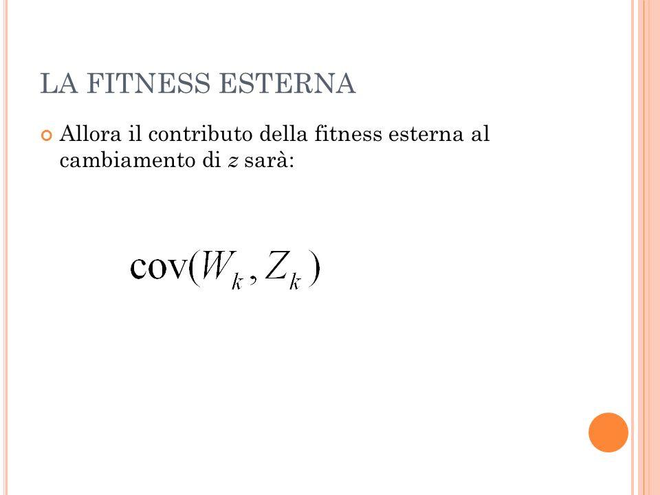 LA FITNESS ESTERNA Allora il contributo della fitness esterna al cambiamento di z sarà: