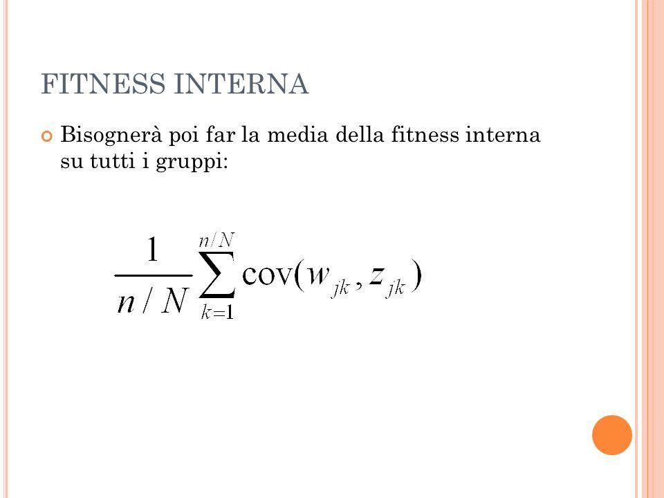 FITNESS INTERNA Bisognerà poi far la media della fitness interna su tutti i gruppi: